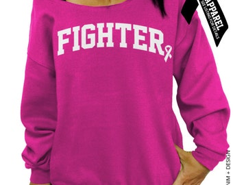 Fighter - Breast Cancer Awareness - Pink Slouchy Oversized Sweatshirt