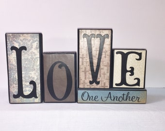 Home Décor Wood Blocks -- LOVE ONE Another - Wood Blocks -- Turquoise and Neutrals