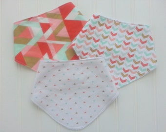 Set of 3 Baby Girl Dribble/Bandana Bibs