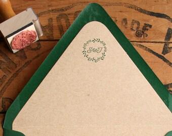 "Rustic Wreath Stamp - Monogram Rubber Stamp - Custom Wedding Initial Stamp - Woodland Leaf Laurels - 1"""
