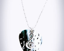 Silver Clef Necklace, Music Note Guitar Pick Necklace, Treble Clef, Music Jewelry, Genuine guitar pick