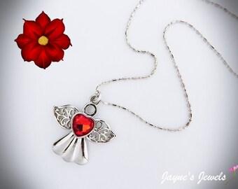 Angel Necklace, Christmas Angel, Guardian Angel, Rhinestone Angel, Protection, ,