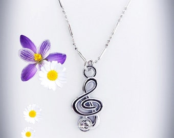Crystal Clef Necklace, Treble Clef, Music note necklace, Silver necklace, Music Jewelry, ,