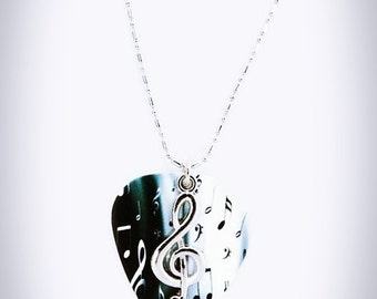 Silver Clef Necklace, Music Note, Guitar Pick Necklace, Treble Clef, Music Jewelry, Genuine guitar pick