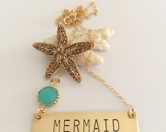 Mermaid Necklace bar Handstamped Custom Brass Gold Filled Boho Layering Bridesmaids Gift Wedding Mothers Day Custom Personalized