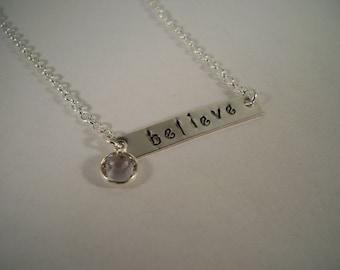 Believe, Birthstone, Hand-Stamped Silver Bar Necklace