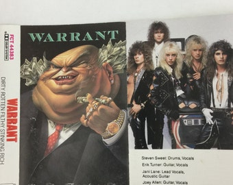 Warrant Dirty Rotten Filthy Stinking Rich Vintage Audio Cassette Tape 1988 CBS Columbia Records FCT 44383