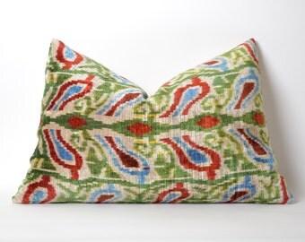Silk Velvet Ikat Pillow Cover - Modern Cushion Cover Decorative Throw Ikat Velvet Pillowcase Cream Red Green Blue Ikat Pillow Cover