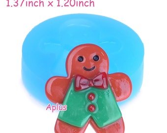 JYL192 34.8mm Gingerbread Man Silicone Mold - Christmas Cookie Flexible Mold Cake Decoration, Gum Paste, Resin Fimo Clay Mold
