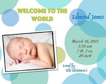 Baby Boy Circles Birth Announcement
