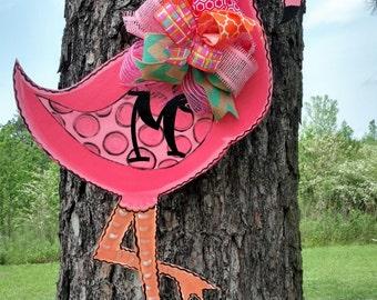 Flamingo Door Hanger, Spring door hanger, bird door hanger, Flamingo wreath, summer door hanger, tropical door hanger
