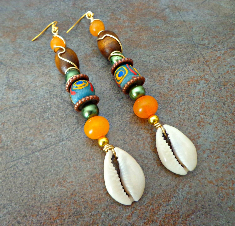 Long Cowrie Shell Earrings Sea Shell Earrings Gypsy