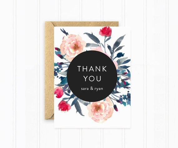 wedding thank you cards personalized wedding stationery modern black