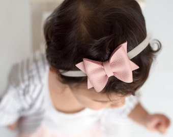 pink leather baby bow, baby bow headband, pink headband, newborn headband, baby headband girls headband, baby girl bows, baby, bows