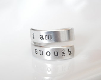 I Am Enough Spiral Ring - Hand Stamped Aluminum - Besties Ring - Gift Under 20