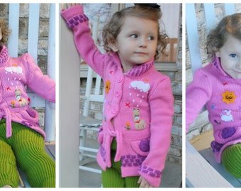 Cute Girls Sweaters,Hand Embroidered Knitted Coats for Little Girls,My Peruvian Treasures,Made in Peru,Beautiful story telling designs,Warm