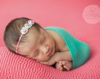 FLOWER HEADBAND, Shabby Rosette, Flower Headband, Pink Headband, Photography Prop, Headband, Newborn Headband, Baby Headband, Photo Prop