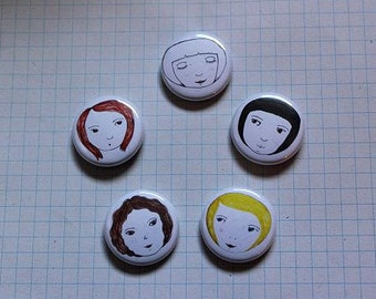 SET of 5 Small Face Pin Badges. Hand drawn unique designs. Pin Badge/Button. 25mm size. Accessories. Gifts. SECOND EDITION!