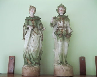 Bisque Figurines Large Pair Vintage Statues, Hand Painted, Olive Green Lady and Courtier, Shakespeare, Renaissance, soft muted colors