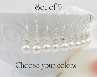 FREE US Shipping 5 Pairs Swarovski Pearl And Rhinestone Bridesmaid Earrings Set Of 5 Bridesmaid Earrings Rhinestone Earrings Bridesmaid Gift