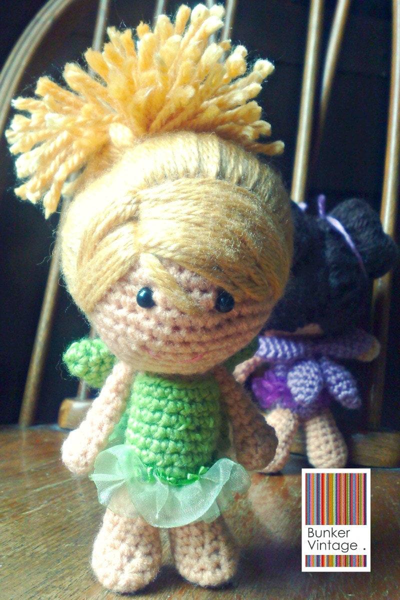 Amigurumi Doll Hair Bun : Amigurumi doll Blonde hair doll Fairy Crochet by BunkerVintage