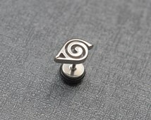 1 Naruto earring – Hidden Leaf Village emblem – UK 1.2mm body jewellery – US 16 gauge body jewelry – cosplay prop – convention accessory