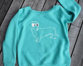 Dachshund Sweatshirt, Womens open neck, Dog Sweatshirt