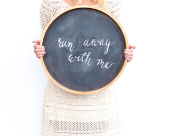 "18 1/2"" Round Copper Leaf Chalkboard: also available in gold leaf or silver leaf"