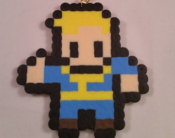 Fallout 4 vault boy perler bead art with free keychain or magnet