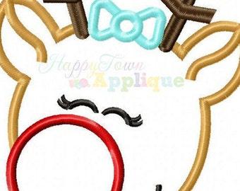 Pretty Reindeer Girl Machine Embroidery Applique Design