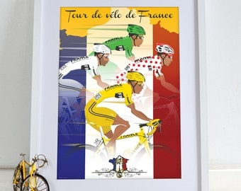 Tour De France Jerseys Bicycle Bike Cycling Poster Wall Art Print Home Décor
