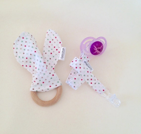 baby shower gift set gender neutral teething ring and dummy clip