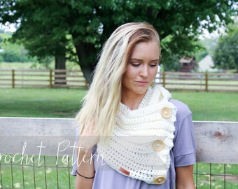 CROCHET PATTERN // chunky crochet blanket scarf pattern, crochet button scarf pattern, bandana scarf pattern // The Hueston Scarf