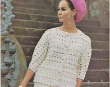 Vintage 1960s Villawool Knit Crochet Book. Retro Swinging Sixties patterns - Ladies Suits, Pants suits, Dresses Sequin Dress  Stripe Dress