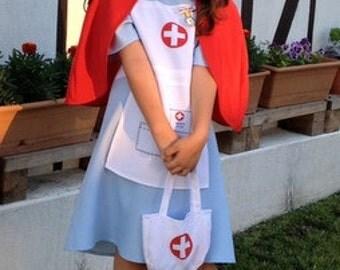 Nurse Costume, Nurse Halloween, Medical Nurse Dress, Nurse Hat, Cross, Little Nurse, Nurses Outfit, girls costume, nurse apron, goth nurse
