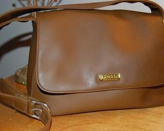 Vintage Fossil Purse / Shoulder Bag / Cross Body /  Classic Brown Saddle Bag