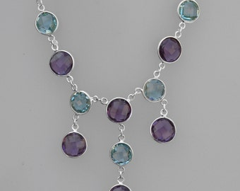 Amethyst Gemstone Necklace,Natural Amethyst Jewelry, Blue Topaz Necklace, 925 sterling silver necklace, multi stone necklace, Topaz Necklace