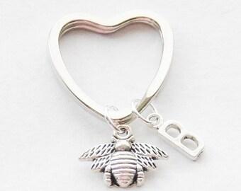 Bee Keychain Silver Charm Keychain Custom Initial Keychain Bumblebee Keychain Silver Bee Keychain Bumblebee Jewelry Custom Monogram Keychain