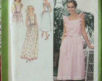 1970's Misses' Dress Pattern ~ Size 16 ~ Back-Wrap, Ruffles, 2 Lengths, Apron ~ Simplicity 8975 Uncut