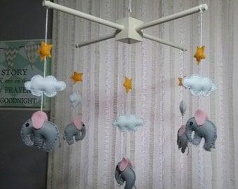 baby mobile, nursery mobile, grey and pink elephant mobile