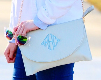Monogrammed Cross Body Purse/Clutch | Multiple Colors