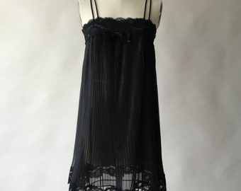 60s black crystal pleat chiffon nightgown with lace / XS