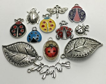11 lady bug charms and pendant collection antique silver #ENS A 124
