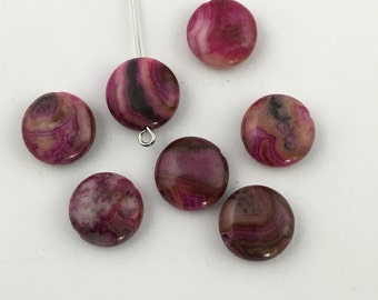 7 fuchsia crazy lace agate stone beads 12mm  #PP 228