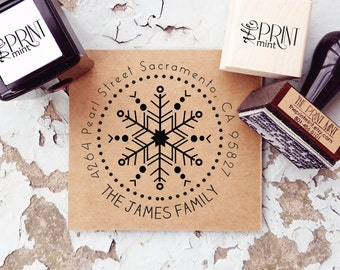 Holiday Address Stamp Snowflake- Christmas Return Address Stamp, Holiday Stamp, Custom Christmas Card Stamp, Address Self Inking 10153
