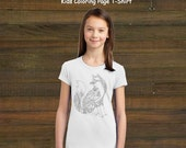 Coloring Book Page T-Shirt - Girls Fox