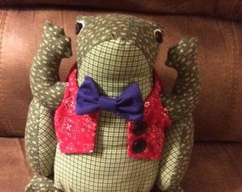 Stuffed frog, fabric frog, plush toy, stuffed animal, softie, pillow, frog