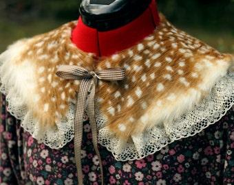 Fawn / Bambi Fur Collar with Lace [ Mori Girl Style ]