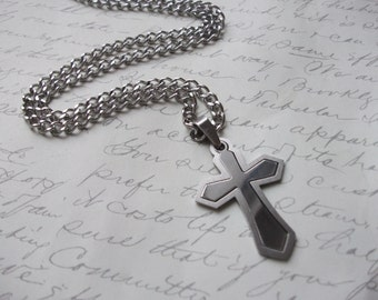 Stainless steel cross men's necklace