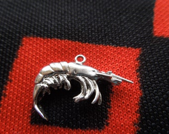 Figural Shrimp Charm Sterling Silver Charm For Bracelet From Charmhuntress 02674